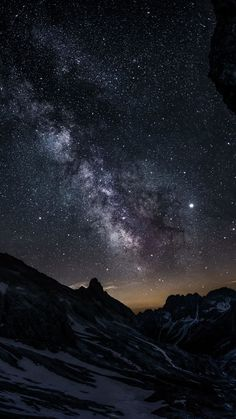 1440x2560 Valley, mountain, night, starry sky wallpaper