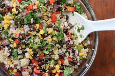 Quinoa Salad with Black Beans and Corn.  This colorful vegan and gluten-free salad is perfect for those spring and summer picnics and potlucks!