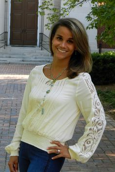 Cream and Lace Long Sleeve Top