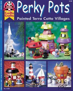 Perky Pots - Kids of all ages will smile as they create adorable fantasy houses from mini terra cotta pots, pebbles and findings! Flower Pot Art, Flower Pot Design, Clay Flower Pots, Flower Pot Crafts, Clay Pot Projects, Clay Pot Crafts, Diy Clay, Garden Projects, Flower Pot People