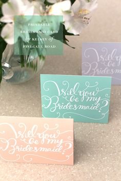 "Free printable ""Will You Be My Bridesmaid"" cards via Something-Pretty.net #free #bridesmaids #wedding"