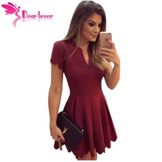 $31.36 - Awesome Dear Lover Princess Style A-line Mini Dresses to Parties Burgundy/White Sweet Short Sleeve Scallop Pleated Skater Dress LC22635 - Buy it Now!