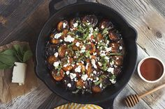 Honey Balsamic Roasted Apricots with Mint and Feta (make/use vegan feta)