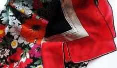 Vintage cotton floral large bandana scarf floral hand rolled