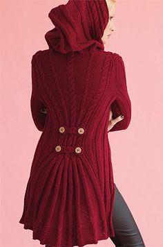 Knit sweater with hood - free knitting pattern