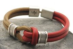 FREE SHIPPING Men's leather bracelet Tan and red leather sailor's knot bracelet silver plated spacers and leaf and lizard textured clasp by eliziatelye on Etsy https://www.etsy.com/listing/160440113/free-shipping-mens-leather-bracelet-tan