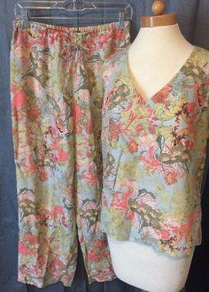 Go Silk Pant suit size M sleeveless top drawstring pants resort wear  #GoSilk #PantSuit