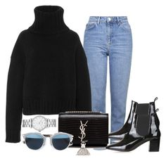 """Untitled #422"" by anassantos ❤ liked on Polyvore featuring Topshop, Sally Lapointe, Yves Saint Laurent, Christian Dior and Marc by Marc Jacobs"