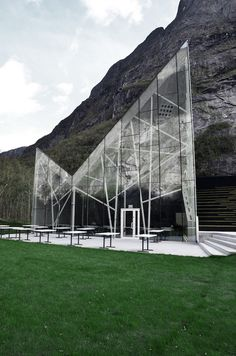 The new visitor center in Trollveggen, Norway, is an outcome of the sites' close connection to the impressive mountain wall, also called Trollwall; Europe's tallest vertical, overhanging rock face in The Romsdal Valley