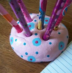 Great idea for kids to do for dads gift clay pen holder for his desk- WhiMSy love: Sunshine Clay recipe to bake in oven