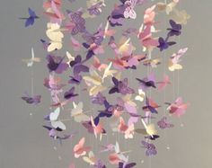 Butterfly Chandelier Mobile, in purple and pink-mostly solid butterflies girl room mobile,nursery mobile,baby girl mobile,baby mobile - Kinderzimmer Dekoration Butterfly Room, Butterfly Mobile, Flower Mobile, Butterfly Shape, Purple Butterfly, Baby Bedroom, Nursery Room, Girls Bedroom Purple, Girl Bedrooms