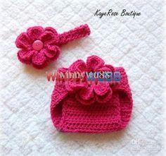 Wholesale New Crochet Baby Diaper Set Pure Handmade Flower Diaper Nappy Cover Flower Headband 2-Piece Set, Free shipping, $20.16-25.08/Set   DHgate