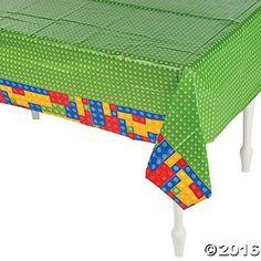 """Plastic Color Brick Party Tablecloth - 54"""" x 108"""""""