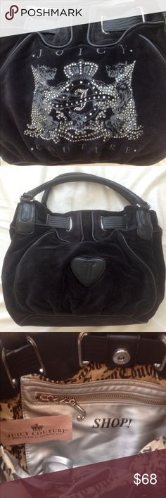 """Juicy Couture bling handbag Black velour Juicy handbag with silver tone hardware & rhinestone embellished pups! Moderate use but bag is in great condition. Measurements 15"""" x 10"""" x 6"""" with 17"""" handle drop. Clean inside & out. Juicy Couture Bags"""