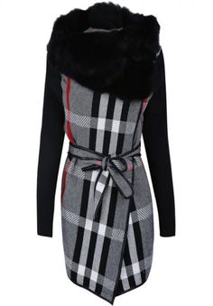 Grey Fur Neck Long Sleeve Plaid Belt Coat