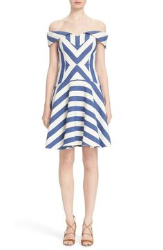 Milly 'Mariella' Stripe Off the Shoulder Fit & Flare Dress available at #Nordstrom
