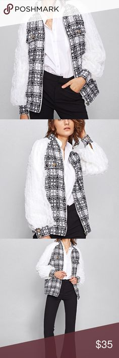 Frilled Mesh Raglan Sleeve Checkered Tweed Jacket OFFER IS WELCOME Style:	Casual, School Material:	100% Polyester Collar:	Stand Collar Pattern Type:	Plaid Placket:	Zipper Length:	Short Color:	Black and White Season:	Spring, Fall Fabric:	Fabric has no stretch Bust(inch):	S:38.6inch Sleeve Length(inch):	S:29.5inch Length(inch):	 S:27inch Bicep Length(inch):	S:15.4inch Shein Jackets & Coats