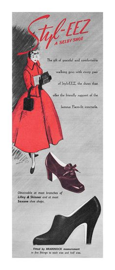 Style-Eez shoe ad, 1949. #vintage #1940s #shoes