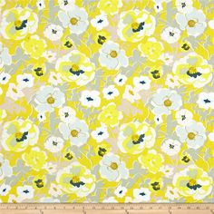 Art Gallery Heartland Blomma Garden Golden from @fabricdotcom  From Art Gallery Fabrics, this 200 thread count quilting cotton is perfect for quilting, apparel, and home decor accents. Pat Bravo's heart has traveled to the inland forests throughout Scandinavia. There, her signature flowers have blossomed and are complimented with delicate homey designs in soothing colors that include rosy taupe, warm yellows, dusty pine greens. Color include yellow, white, taupe, teal, and blue.