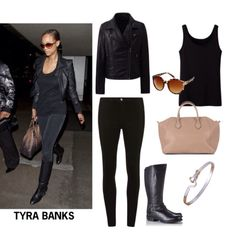 Tyra Banks-Chic and sleek looks. Comparable items can be purchased at Dilliard's.  Accessories can be purchased at Claire's.