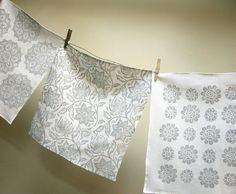 Winter White set of four linen hand printed dinner by giardino, $40.00