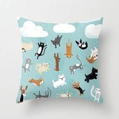 Amazon.com: Raining Cats Dogs Cute Pillows Throw Pillow Cover Decorative Cushion Covers 18 x 18 for Kids Home Decor: Home & Kitchen