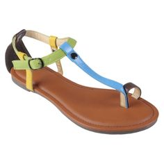 Womens' Hailey Jeans Co  Multi-color T-strap Sandals - Target