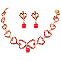 Red necklace earring piece suit is