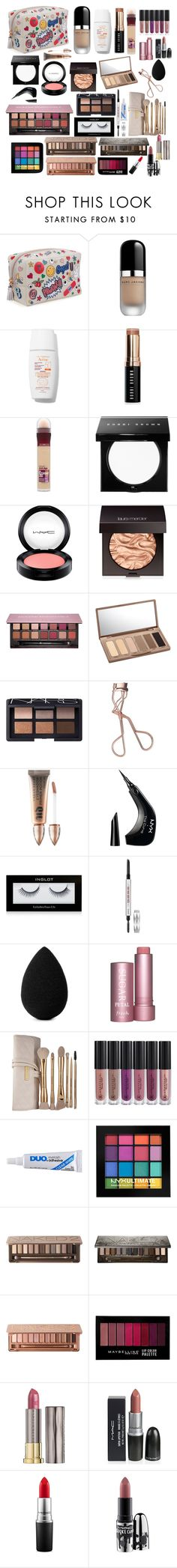 """Untitled #102"" by lauracruzsoriano-2 on Polyvore featuring beauty, Anya Hindmarch, Marc Jacobs, Bobbi Brown Cosmetics, Maybelline, MAC Cosmetics, Laura Mercier, Anastasia Beverly Hills, Urban Decay and NARS Cosmetics"