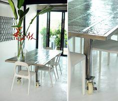 concrete floor+table on wheels