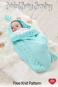 Cabled Baby Bunting free knit pattern in Soft Essentials Baby yarn. Here's the perfect bunting for bringing baby home for the first time, for outings around the neighborhood or for going to meet friends and family as an infant. This knit design features three classic cables with a tasseled hood and ribbed back for coziness. Baby Cocoon Pattern, Crochet Baby Cocoon, Knit Baby Pants, Knitted Baby Clothes, Baby Knitting Patterns, Baby Patterns, Baby Bunting Bag, Knitted Bunting, Baby Sack