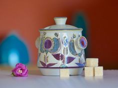 Ceramic faience blue Scandinavian vintage  sugar  by CollectionIt