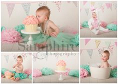 First Birthday Cake Smash in Pink and Mint Green for this little girl who visited me for her newborn session a year ago.