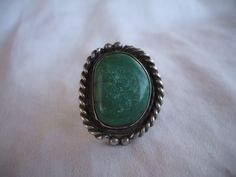 Old Vintage NAVAJO Sterling Silver & Huge TURQUOISE Cabochon RING, size 9 1/4.  TurquoiseKachina, $215.10