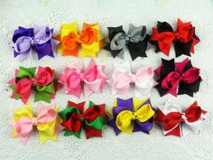 """Lot 12 pcs Hair Clip baby girl toddler kids boutique two tone hair bows 3""""-1837 #MyOwnUniqueDesign"""