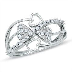 1/4 CT. T.W. Diamond Multi-Heart Swish Ring in 10K White Gold - Gordons Jewelers