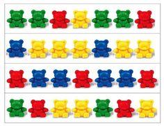 Teddy Bear Patterning Strips Patterning strips to use with Red, Yellow, Green, and Blue Teddy Bear counters. Bears Preschool, Preschool Math, Math Classroom, Kindergarten Math, Teaching Math, Preschool Centers, Math Stations, Math Centers, Math Resources