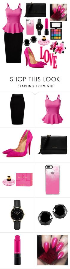 """Sans titre #654"" by kokoxpops ❤ liked on Polyvore featuring River Island, Doublju, Christian Louboutin, Michael Kors, Yves Saint Laurent, Casetify, ROSEFIELD, West Coast Jewelry, MAC Cosmetics and NYX"