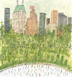 Skating in Central Park by Clare Caulfield at Heart Gallery