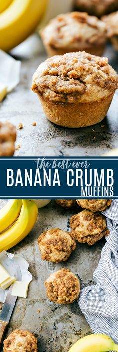 The ultimate BEST EVER banana crumb muffins! Easy and delicious! via chelseasmessyapron.com #quick #easy #familyfriendly #best #popular #breakfast #muffins #delicious #healthy #bananas