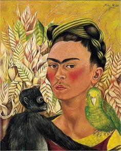 Self Portrait with Monkey and Parrot, 1942 by Frida Kahlo. Naïve Art (Primitivism). self-portrait. Collection of Constantini, Buenos Aires, Argentina