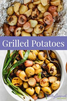 Try these easy foil packet Grilled Potatoes with grilled scallions and maple mustard Dressing for a simple summer side dish. #summerrecipeideas #sidedish #potatoes #grilling Summer Side Dishes, Best Side Dishes, Healthy Side Dishes, Side Dish Recipes, Dinner Recipes, Healthy Grilling, Grilling Recipes, Beef Recipes, Cooking Recipes