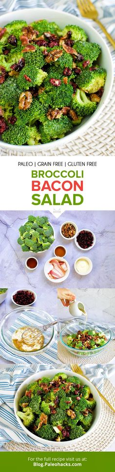 Make this sweet and savory broccoli bacon salad with a handful of ingredients in under 20 minutes. Paleo Salad Recipes, Healthy Recipes, Paleo Meals, Paleo Diet, Healthy Foods, Broccoli Salad Bacon, Bacon Salad, Fun Easy Recipes, Side Dish Recipes