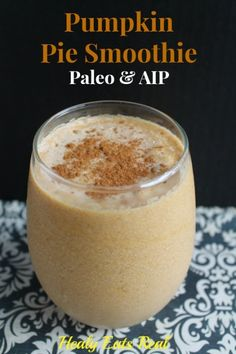 Pumpkin Pie Smoothie AIP Pumpkin Recipes, Paleo Recipes, Whole Food Recipes, Spiced Pumpkin, Pumpkin Dishes, Flour Recipes, Sweet Recipes, Pumpkin Pie Smoothie, Paleo Breakfast