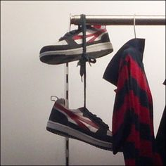"""Shoefetti, sneakers and laces tied together and thrown bolo-wise over power lines, mark gang territories and successful """"scores"""" according to… Wardrobe Rack, Retail, Marketing, Casual, Home Decor, Homemade Home Decor, Interior Design, Retail Merchandising, Home Interior Design"""