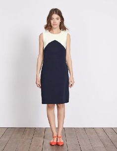 #Boden Edwina Ottoman Dress Navy/Ivory Women Boden, #Were going to get straight to the point: the colourblocking design on this classic shift dress is the update your wardrobes been waiting for.