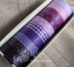 happytape-japanese washi paper tape, very similar to masking tape, however it tears easier and is semi transparent. Purple Birthday, Purple Party, Creative Gift Wrapping, Creative Gifts, Colored Masking Tape, Paper Engineering, Decorative Tape, Paper Tape, Decorating Tools