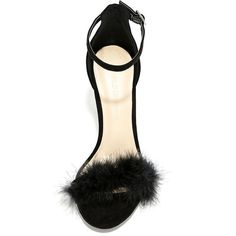 Lulus  Valentina Black Feather Ankle Strap Heels (195 HRK) ❤ liked on Polyvore featuring shoes, pumps, high heel shoes, black high heel shoes, ankle wrap shoes, black high heel pumps and stiletto pumps