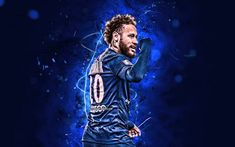 Football Neymar, Neymar Jr, Blue Neon Lights, Psg, Kawaii Anime, Soccer, Sport, Paris Saint, Fictional Characters
