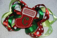 Monogramed /Personalized Christmas Stocking Hair Bow Machine Embroidered by CouldYouBeAnyCuter on Etsy